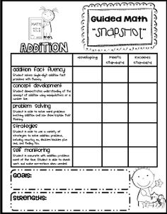 "Sarah's First Grade Snippets: Math ""Snapshot"" Assessment for Addition freebie"