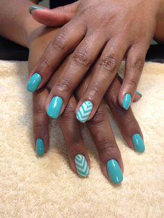 Blue chevron nail art with gel polish