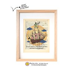 Peter Pan Neverland dictionary print -Peter quote print-Nursery print-Peter on book page-Upcycled Dictionary art- by NATURA PICTA