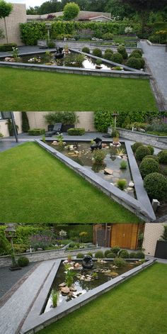 Modern garden with clean lines and raised ponds and borders. Created by Hoveniersbedrijf Hanewinkel TuinKeur certified. Garden Pond Design, Modern Garden Design, Terrace Garden, Water Garden, Landscape Design, Ponds Backyard, Backyard Landscaping, Backyard Designs, Small Gardens
