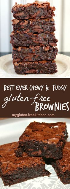 Best Ever Chewy & Fudgy Gluten-free Brownies Recipe. So easy to make too!