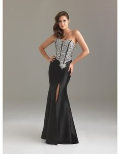 Bicolor mermaid sweetheart lace-up prom dress with sequined embellishment and high slit  US$197.70