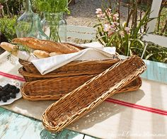 Antiguas paneras francesas tejidas a mano - Antique French Handwoven Bread Basket