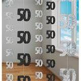 50th Birthday Black Hanging string Decoration