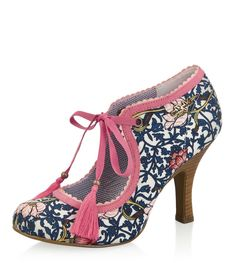 Ruby Shoo Willow Navy Coral Floral High Heel Shoes