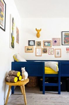 Cute royal blue bed for a nursery or big bow room!