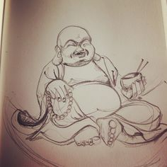 D'humeur #zen ce matin ! #buddha #drawing #draw #dessin #smile #fat #art