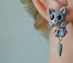 grey cat earrings,animal clinging earrings,front back earring,double side stud,unique ear jacket,two part earring,polymer clay dangling post
