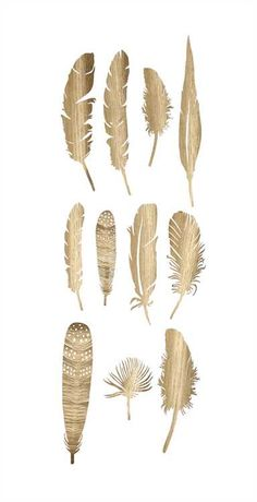 Paper Feathers in Gold Finish - Set of 22 Assorted Feathers