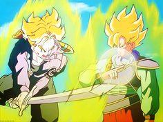 Goku e Trunks brincando.