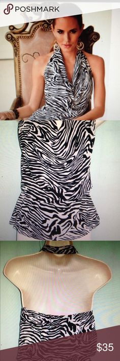 boston proper halter top new without tags zebra pattern size 6/Small Boston Proper Tops Blouses