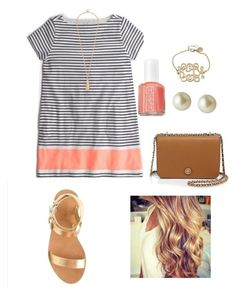 """Preppy summer"" by amahl-1 ❤ liked on Polyvore featuring Essie, Tory Burch and Carolee"