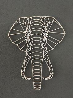 Elephant geometric wooden animal wall Geometric Drawing, Geometric Art, Geometric Elephant, Wooden Wall Art, Metal Wall Art, Art Deco Nails, Roman Clock, Design Art, Wall Art Designs