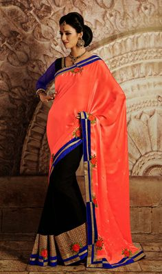 Black and Tomato Crepe Jacquard Half N Half Saree Price: Usa Dollar $94, British UK Pound £55, Euro70, Canada CA$102 , Indian Rs5076.