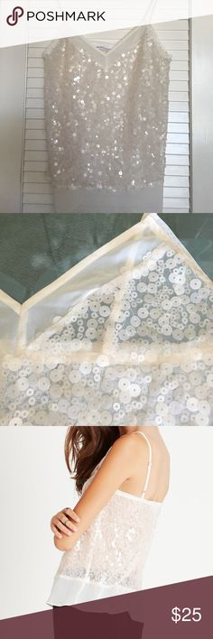 BCBGeneration Lace Inset Sequin Cami Beautiful, feminine, and twinkling camisole! Cream colored chiffon, lace inset, spaghetti straps, sleeveless, v-neckline, all over sequins.  Spandex mesh, polyester chiffon material. In beautiful condition! BCBGeneration Tops Camisoles