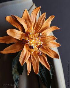 "Цветы из кожи. Брошь ""Sole"". Handmade."