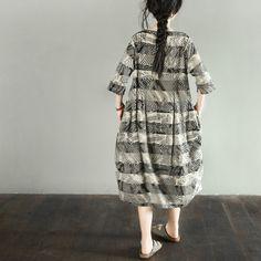 Silk Cotton Stripe Women Loose Casual Dress LR697