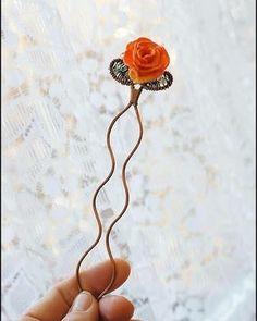 Шпилька для волос с розой #rose #headpin #lampwork #glass #beading #wirewrap #wirewrapping  #handmade #шпилька #прическа #невеста #wedding