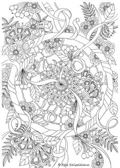 Coloring Page for Adults Wheel Mandala by Egle Stripeikiene.