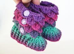 crochet crocodile stitch pattern free | ... : Crocodile Stitch Booties (Baby Sizes) pattern by Bonita Patterns