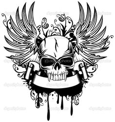 Free art print of Skull with crown, wings and sword. Vector illustration skull with crown, wings and sword Halloween Tattoo, Tribal Tatto, Tattoo Crane, Skull With Crown, Totenkopf Tattoos, Skull Pictures, Adult Coloring Book Pages, Free Art Prints, Free Illustrations