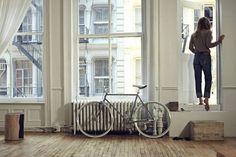 Floor, windows, door the balcony.  Bike indoor, love it