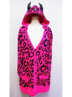 Leopard Pattern Knit Hooded Cardigan w/ Horns Pink. See more at: http://www.cdjapan.co.jp/apparel/superlovers.html #harajuku #SUPER LOVERS