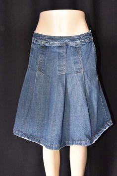 Isaac Mizrahi Womens 6 Dark Wash Blue Jean Pleated Skirt Distressed Modest #IsaacMizrahi #Pleated