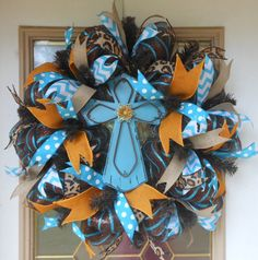 Rustic Turquoise Cross Wreath on Etsy, $85.00