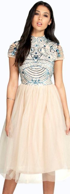 Boutique Ely Embellished Top Tutu Skirt Skater Dress - Dresses  - Street Style, Fashion Looks And Outfit Ideas For Spring And Summer 2017
