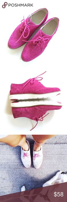 🆕{Listing} Cole Haan Pink Suede Oxfords Brand new in box. Cole Haan Pink Suede Oxfords. Make a bright statement with these cheerful shoes. Laced, Suede, white soles. Never worn. Cole Haan Shoes Flats & Loafers