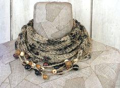Sciarpa in lino estate collana Boho naturale ad di woollinen