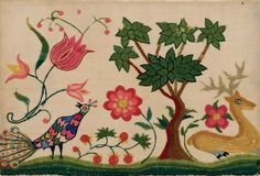 Textiles (Needlework) - Needlework picture (Crewelwork fragment) - Search the Collection - Winterthur Museum Needlepoint Kits, Needlepoint Canvases, Fruit Flowers, Winterthur, Crewel Embroidery, Museum Collection, Applique Quilts, Picture Design, Natural Linen