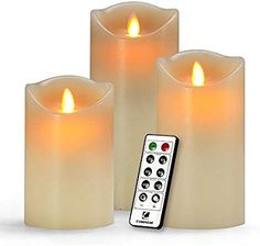 "Amazon.com: Flameless Candles, Led Candles Set of 9(H 4"" 5"" 6"" 7"" 8"" 9"" xD 2.2"") Ivory Real Wax Battery Candles With Remote Timer by (Batteries not included): Home Improvement"