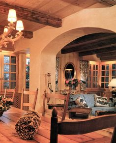 wooden cross beams in dining room