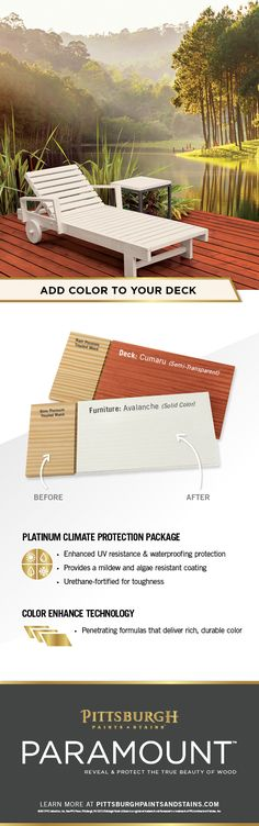 Make a Statement with Wood Stain! Protect and beautify your outdoor wood deck with Paramount™ Stain. Enhance the natural beauty of your home's exterior woodwork with exceptional richness and depth of color. Paramount™ offers a large selection of beautiful colors and finishes perfect for your stain project. Click to explore stain colors by Pittsburgh Paints & Stains Paramount™, exclusively at Menards®!