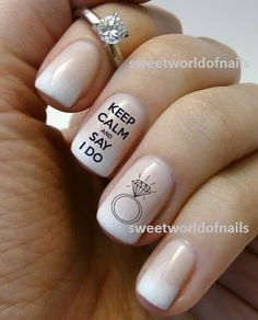 Wedding Nail Art Water Decals/ Water Transfers I do nails Wedding Ring KN004