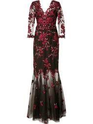 Shoppen Marchesa Notte Abendkleid mit floraler Spitze.