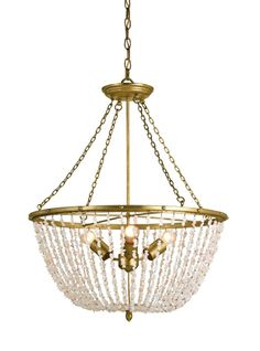 """From Cottageandbungalow.com. The Bijou Chandelier features a unique and elegant design that will add style and flair to any room in the home. This chandelier features cascades of blush colored beads and a rich Dutch Gold finish that accentuates the elegant design.Specifications:Measures:  24""""RD x 29""""HCanopy Width: 5.75""""Wire: 13'Chain: 6'Finish: Dutch Gold/BlushMaterial: Wrought Iron/QuartzThis fixture takes three Type A medium base (E26) bulb (Bulb NOT included) Maximum wattage 60w."""