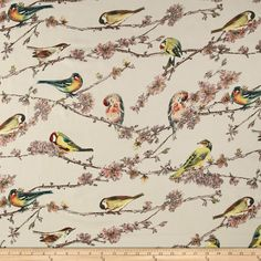 Telio San Tropez Tropical Bird Print Beige/Mauvee Fabric By The Yard