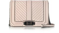 REBECCA MINKOFF Soft Blush Quilted Leather Small Love Crossbody Bag. #rebeccaminkoff #bags #shoulder bags #leather #crossbody #
