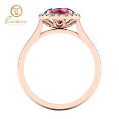 Inel de logodna din aur roz cu rubin si diamante ES151 Engagement Rings, Diamond, Jewelry, Enagement Rings, Wedding Rings, Jewlery, Bijoux, Schmuck, Pave Engagement Rings