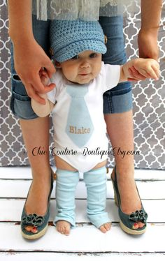 Baby Boy Herringbone Personalized Tie Onesie. OR Any Tie with Any Embroidery. Fall, Christmas Preppy, Classy, Trendy Tie. Beige, Tan, Taupe. on Etsy, $23.50