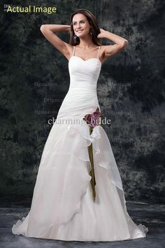 79508c48ee81 Actual Image Elegant Spaghetti Sweetheart Chiffon A Line Wedding Dresses  Purple Flower Bridal Gown