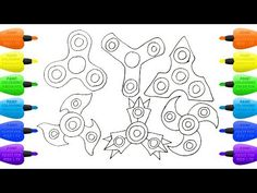 How to Draw Set of Spinners   Coloring Pages Kit Toys for Children - Vidinterest