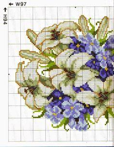 Grandissima raccolta di Schemi,cornici e grafici per Punto croce, gratis da scaricare : deliziosi quadretti floreali da ricamare a punto croce