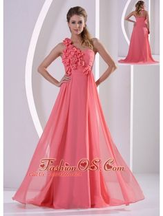 Nice Evening Dresses plus size Customize Hand Made Flowers One Shoulder Watermelon Prom Evening Dress With Brus... Check more at http://24myshop.tk/my-desires/evening-dresses-plus-size-customize-hand-made-flowers-one-shoulder-watermelon-prom-evening-dress-with-brus/