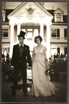 How romantic! A magician marrying his assistant, love her vintage gown.  By the Fountain by LaRosaK, via Flickr