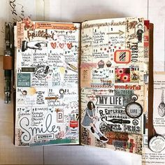 Midori Traveler's Notebook ideas and layouts. Inspiration for keeping a trav… Midori Traveler's Notebook ideas and layouts. Inspiration for keeping a travel journal, art journal or scrapbook Art Journal Pages, Album Journal, Travel Journal Pages, Scrapbook Journal, Travel Scrapbook, Art Journals, Travel Journals, Journal Layout, Journal Notebook