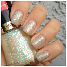 Revlon - Heavenly glitter topper.Chunky glitter. Very pretty over CG First Mate. Goes on nicely. Takes a nuclear blast to remove from the nails, though.I'll have to try 100% acetone. Try over black.